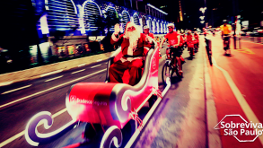 Papai Noel em trenó puxado por bicicletas na Paulista!