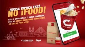 Parceria entre Cinemark e iFood oferece entrega de pipocas e produtos exclusivos